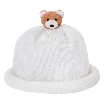Ponytail Pals® Babynie® Small Knit Hat with Little Brown Teddy Bear in White