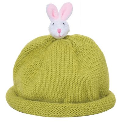 Ponytail Pals® Babynie® Large Knit Hat with White Bunny in Green