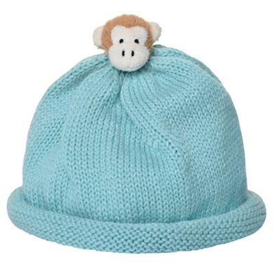 Ponytail Pals® Babynie® Small Knit Hat with Monkey in Minty Blue