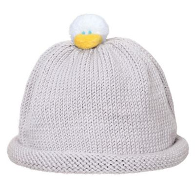 Ponytail Pals® Babynie® Small Knit Hat with White Ducky in Grey