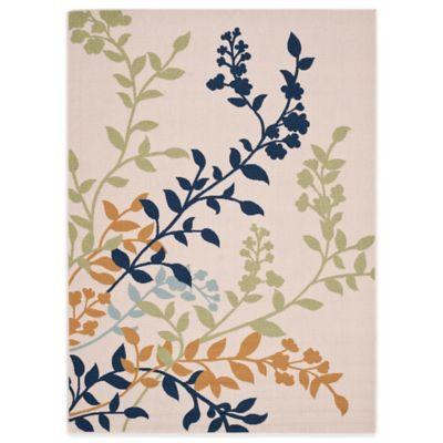 Safavieh Veranda Willow Blossom 6-Foot 7-Inch x 9-Foot Indoor/Outdoor Rug in Navy