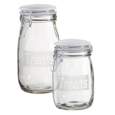 Treats Café Canister in Clear/White