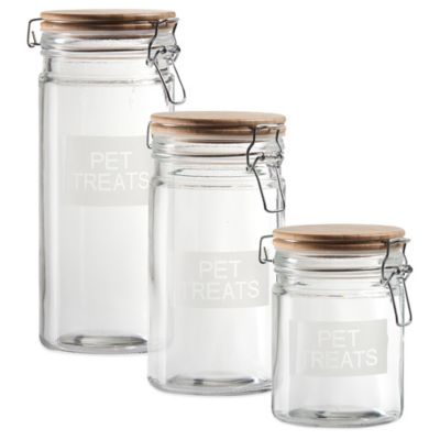 Pet Treats 44 oz. Jar with Airtight Lid in Brown/Clear