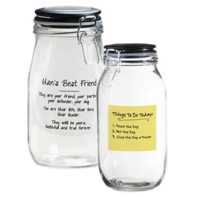 Webster Medium Pet Jar with Airtight Lid in Clear/Black