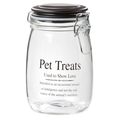 Webster 32 oz. Pet Treats Glass Jar with Airtight Lid in Clear/White