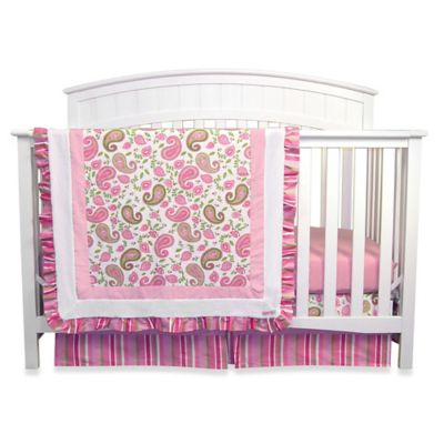 Green Paisley Crib Bedding