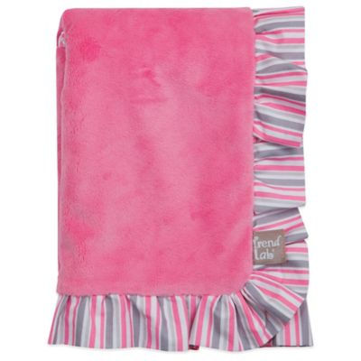 Lily Velour Ruffled Receiving Blanket in Pink