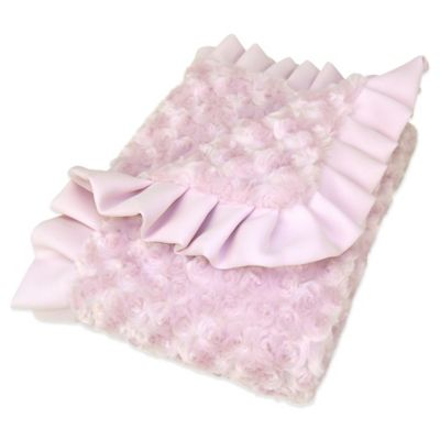Trend Lab® Lily Rosette Velour Ruffled Receiving Blanket in Pink