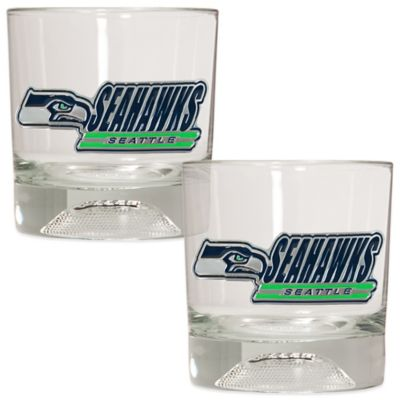 NFL Seattle Seahawks Rocks Glass with Football Sculpted Bottom (Set of 2)