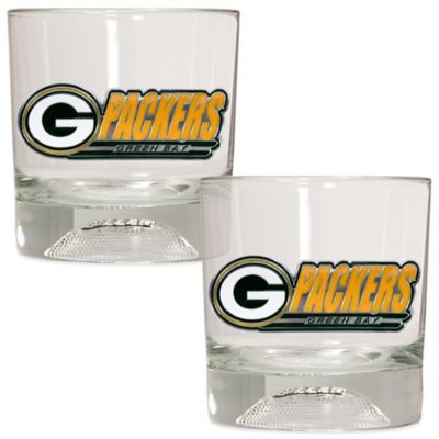 NFL Green Bay Packers Rocks Glass with Football Sculpted Bottom (Set of 2)