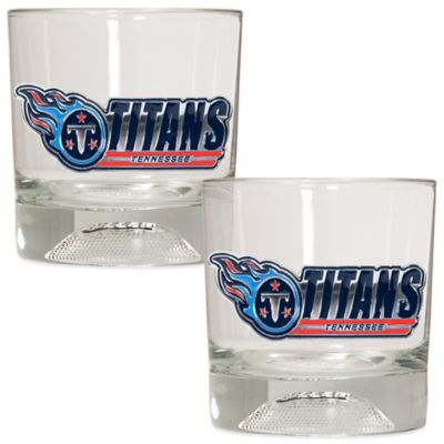NFL Tennessee Titans Rocks Glass with Football Sculpted Bottom (Set of 2)