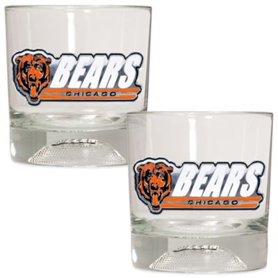 NFL Chicago Bears Rocks Glass with Football Sculpted Bottom (Set of 2)