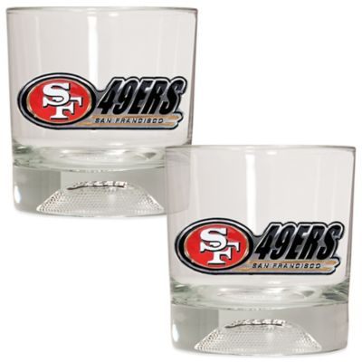NFL San Francisco 49ers Rocks Glass with Football Sculpted Bottom (Set of 2)