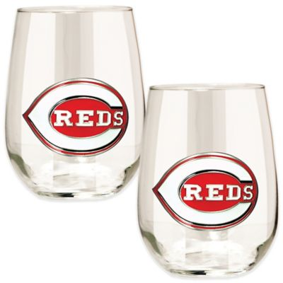 MLB Cincinnati Reds Stemless Wine Glass (Set of 2)