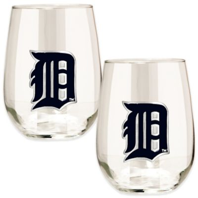 MLB Detroit Tigers Stemless Wine Glass (Set of 2)