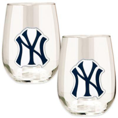MLB New York Yankees Stemless Wine Glass (Set of 2)