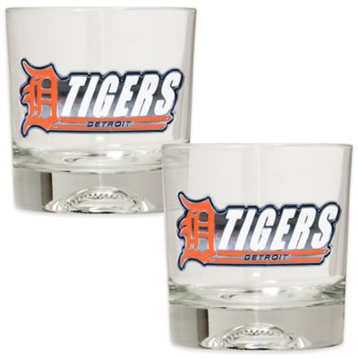MLB Detroit Tigers Rocks Glass with Baseball Sculpted Bottom