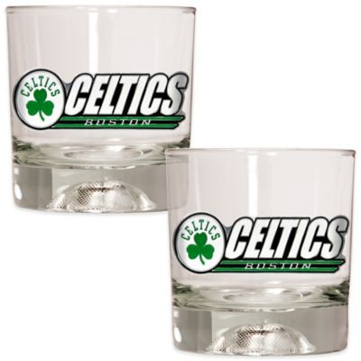 NBA Boston Celtics Rock Glass with Basketball Sculpted Base (Set of 2)