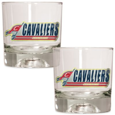 NBA Cleveland Cavaliers Rock Glass with Basketball Sculpted Base (Set of 2)