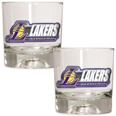 NBA Los Angeles Lakers Rock Glass with Basketball Sculpted Base (Set of 2)