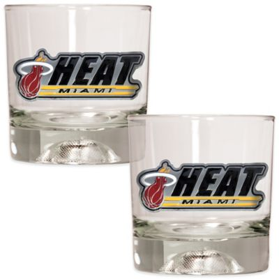 NBA Miami Heat Rock Glass with Basketball Sculpted Base (Set of 2)