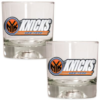 NBA New York Knicks Rock Glass with Basketball Sculpted Base (Set of 2)