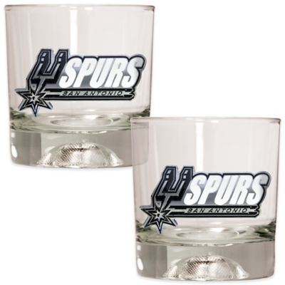 NBA San Antonio Spurs Rock Glass with Basketball Sculpted Base (Set of 2)