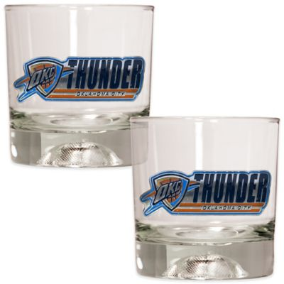 NBA Oklahoma City Thunder Rock Glass with Basketball Sculpted Base (Set of 2)