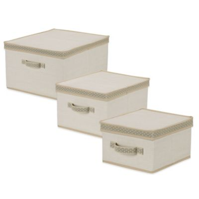 Household Essentials® Medium Storage Box with Decorative Link Trim in Ivory