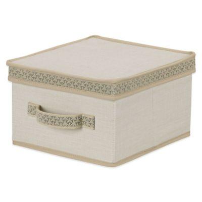 Household Essentials® Medium Storage Box with Decorative Link Trim in Ivory