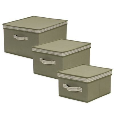 Household Essentials® Medium Storage Box with Decorative Wave Trim in Olive