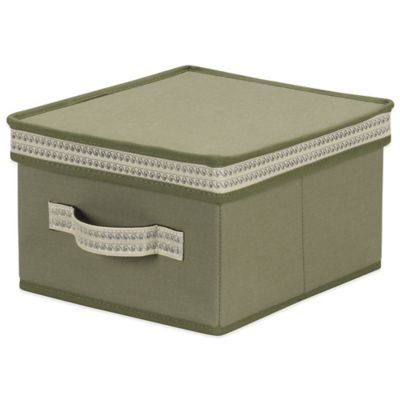 Household Essentials® Medium Storage Box with Decorative Wave Trim in Olive