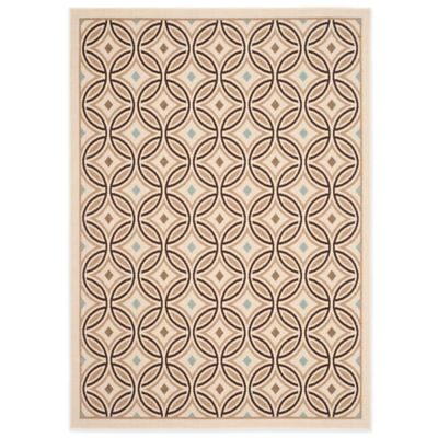 Safavieh Veranda Circle Quilt 6-Foot 7-Inch x 9-Foot Indoor/Outdoor Rug in Chocolate