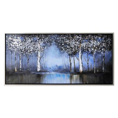 Cobalt Tree Hand-Painted Canvas Wall Art