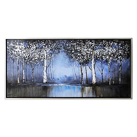 Cobalt tree hand painted canvas wall art bed bath beyond for Artwork for wall decoration
