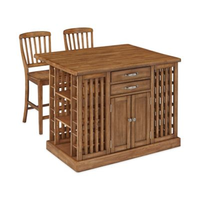 Home Styles Vintner Kitchen Island with 2 Stools