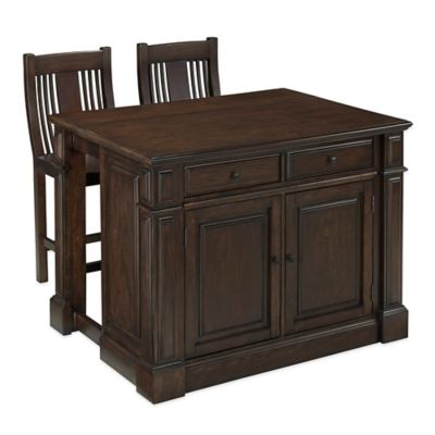 Home Styles Prairie Home 3-Piece Kitchen Island and Stools Set in Black Oak