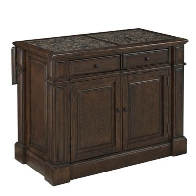 Home Styles Prairie Home Kitchen Island with Granite Top in Black Oak