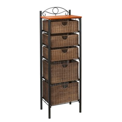 Southern Enterprises Iron/Wicker 5-Drawer Unit