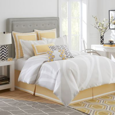 Jill Rosenwald Groton Swirl Twin Bed Skirt in Sun Yellow