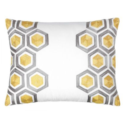 Jill Rosenwald Groton Swirl Hexagon Oblong Throw Pillow in Sun Yellow