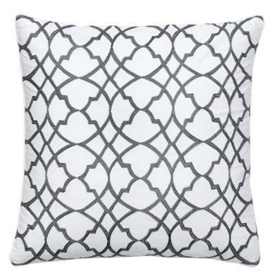 Jill Rosenwald Groton Swirl Square Throw Pillow in Pearl