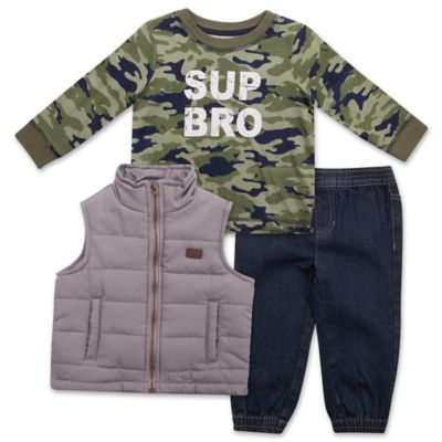 "Lee® Size 12M 3-Piece Puffer Vest, Thermal ""Sup Bro"" Camo Top, and Denim Pant Set"