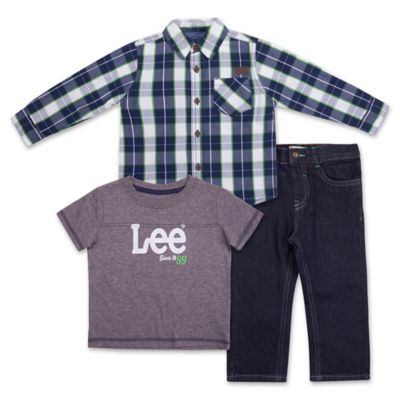 "Lee® Size 12M 3-Piece ""Since 89"" Woven Shirt, Jersey Heathered Top, and Denim Pant Set"