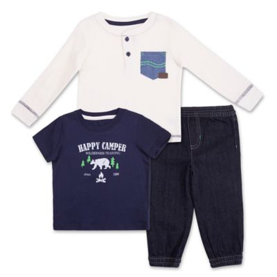 "Lee® Size 24M 3-Piece ""Happy Camper"" Tee, Thermal Shirt, and Denim Pant Set in Blue/White"