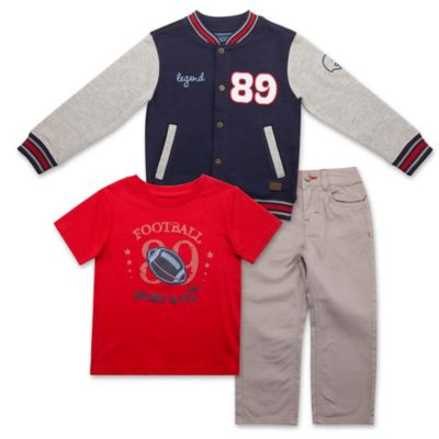"Lee® Size 12M 3-Piece ""Varsity"" French Terry Jacket, Shirt, and Twill Pant Set in Navy/Red"