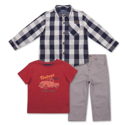 "Lee® Size 3T 3-Piece ""Vintage"" Woven Shirt, Jersey Tee, and Twill Pant Set in Navy/Red"