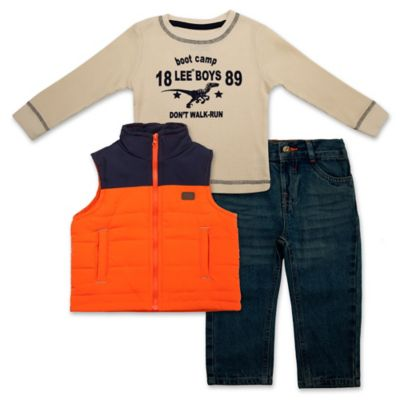 "Lee® Size 18M 3-Piece ""Boot Camp"" Puffer Vest, Thermal Top, and Denim Pant Set"