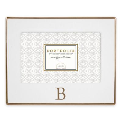 "Portfolio by Sheffield Home 4-Inch x 6-Inch Monogram Letter ""B"" Ceramic Frame in White/Gold"