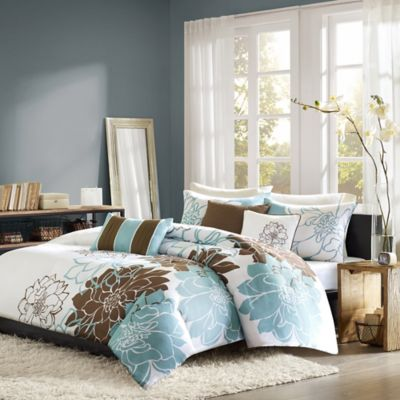 Madison Park Lola 6-Piece Reversible Full/Queen Duvet Cover Set in Blue/Brown